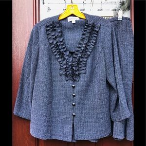 Skirt Suit Ruffle Jacket Navy Blue Plus Size 14